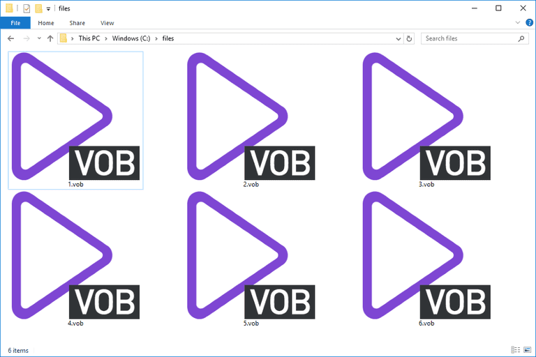 Screenshot of several VOB files