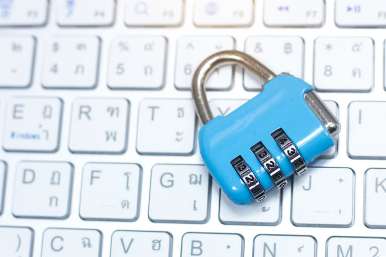 Lock and laptop keyboard