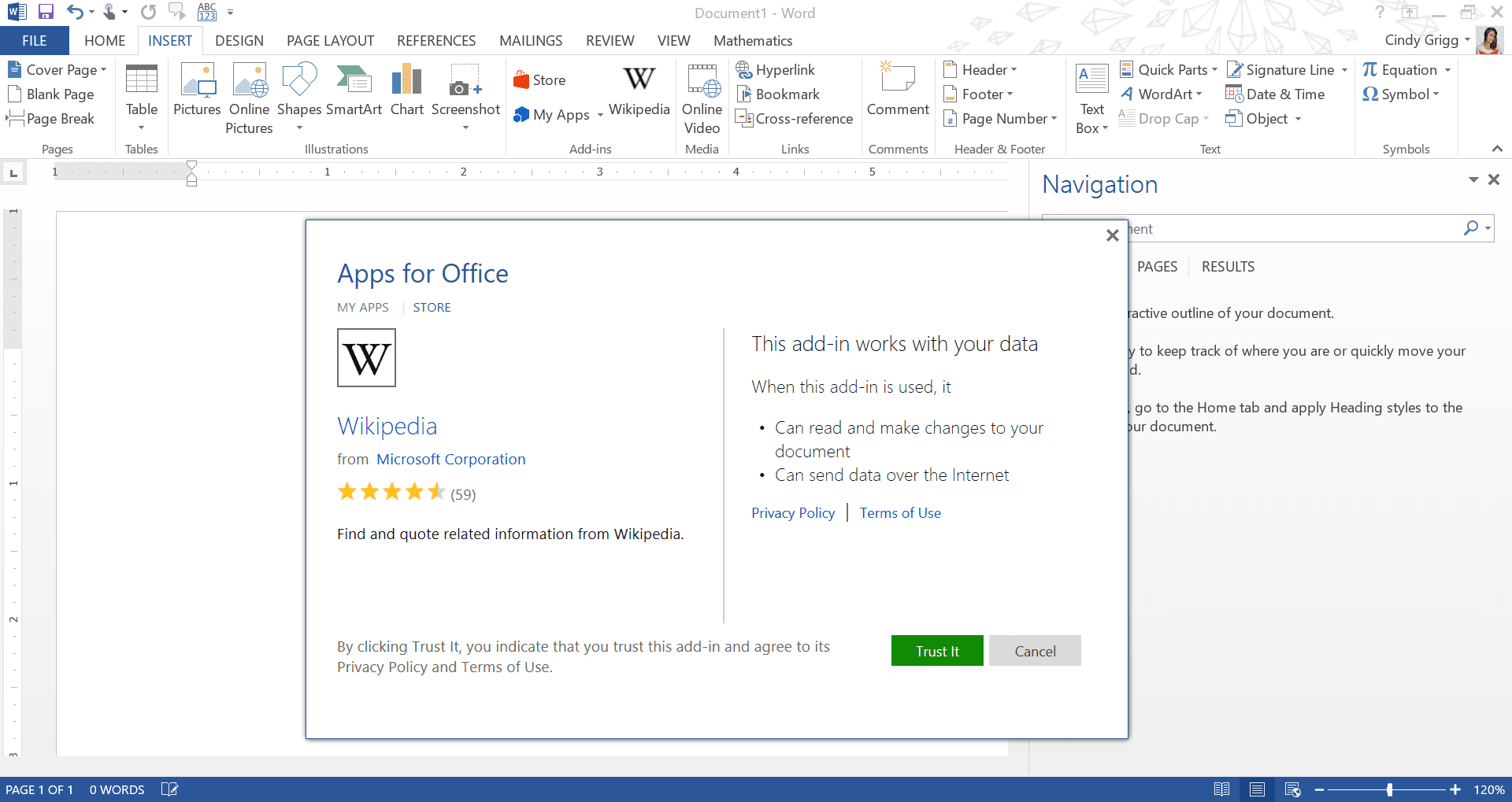 Wikipedia App or Add-in for Microsoft Word