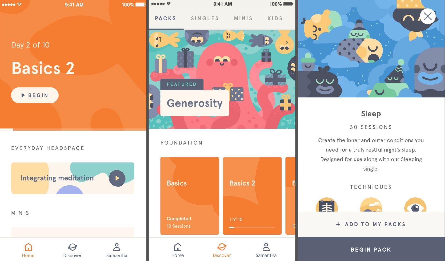 Three screenshots of the Headspace app.