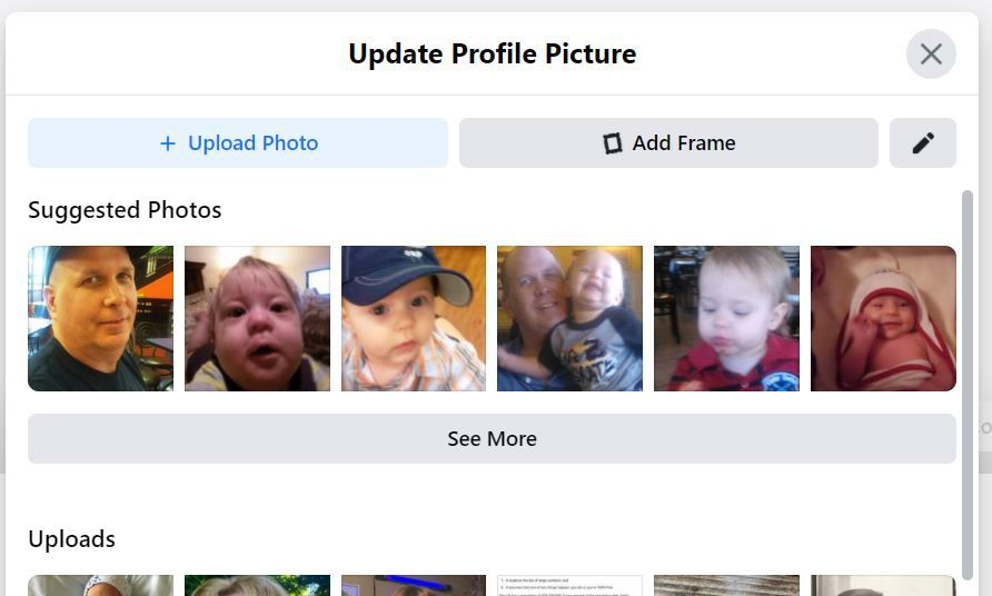 Update Profile Picture window in Facebook