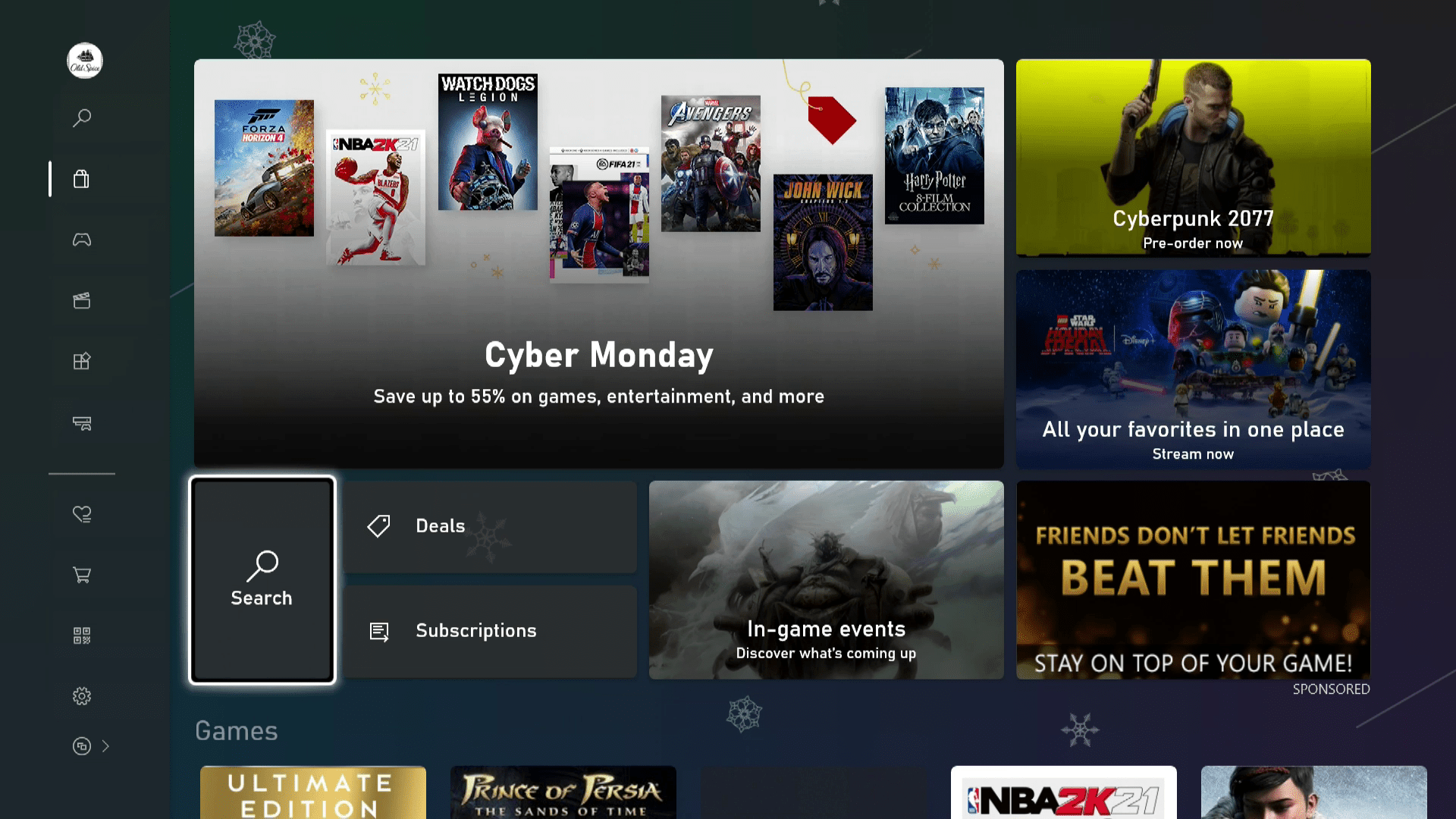 The search function in the Xbox Series X S Store.