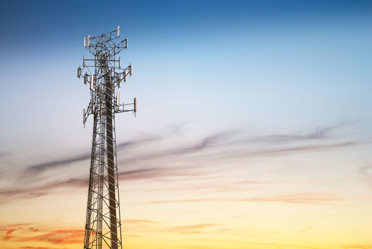cell tower at dusk