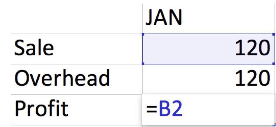 Screenshot of creating a simple Excel formula