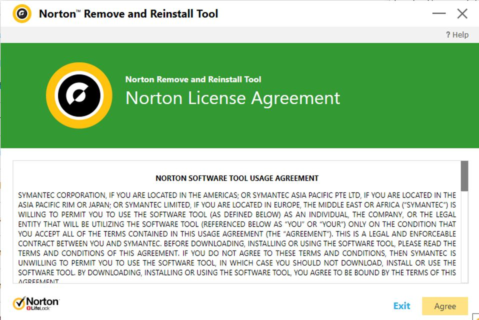 Norton Remove and Reinstall Tool license agreement