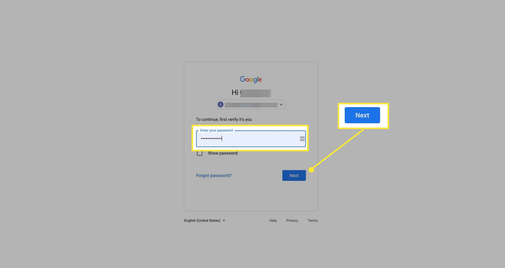 Google account screen with password and