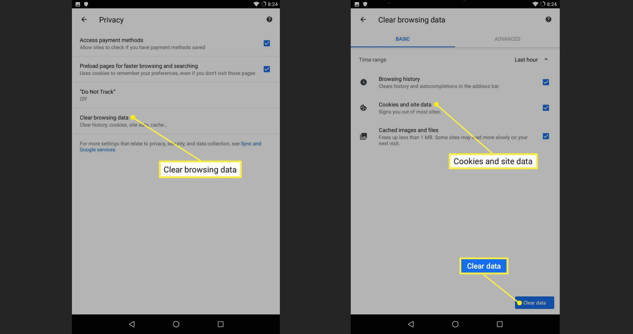 Android Chrome Clear browsing data with Cookies and site data highlighted