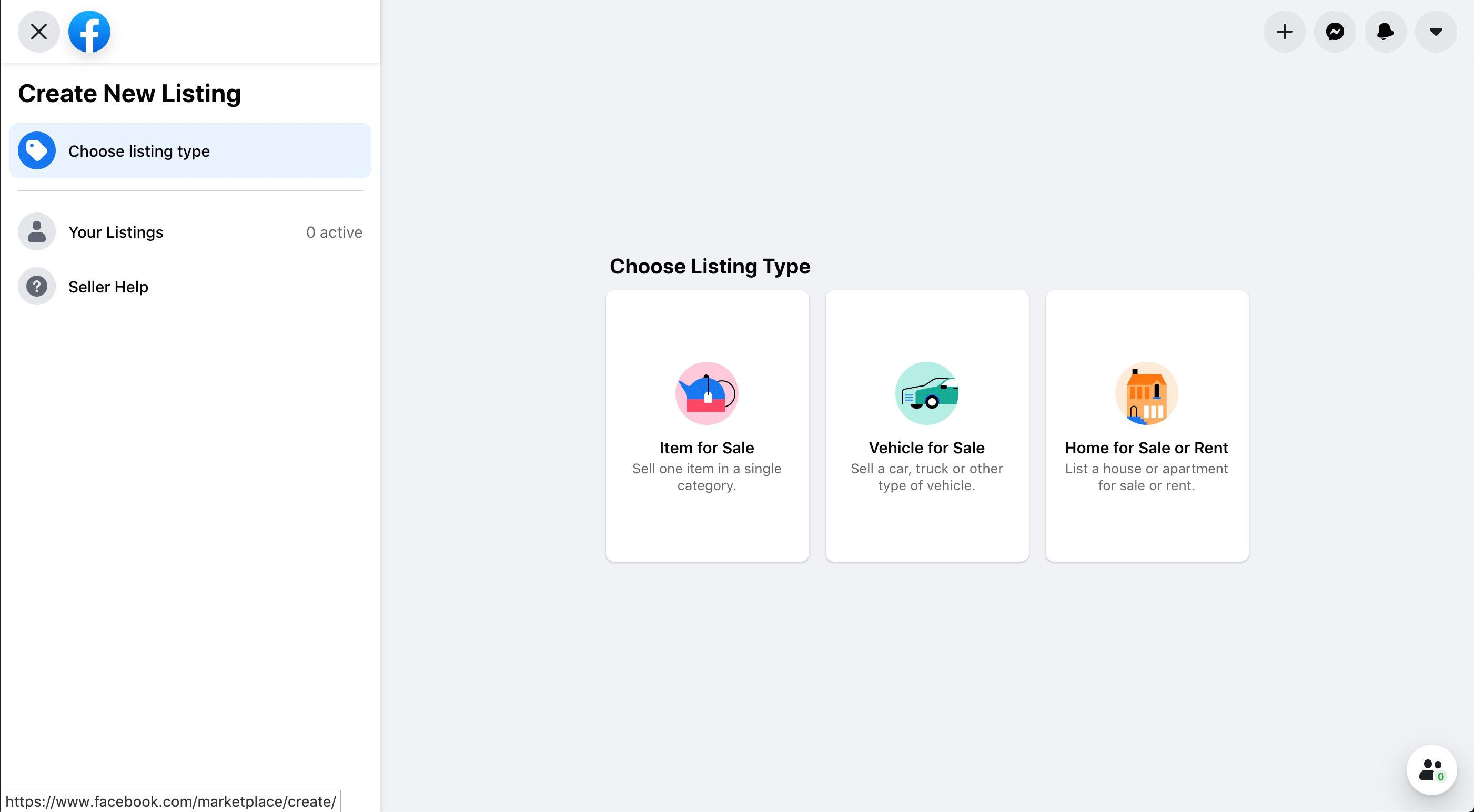 Listing types in Facebook Marketplace