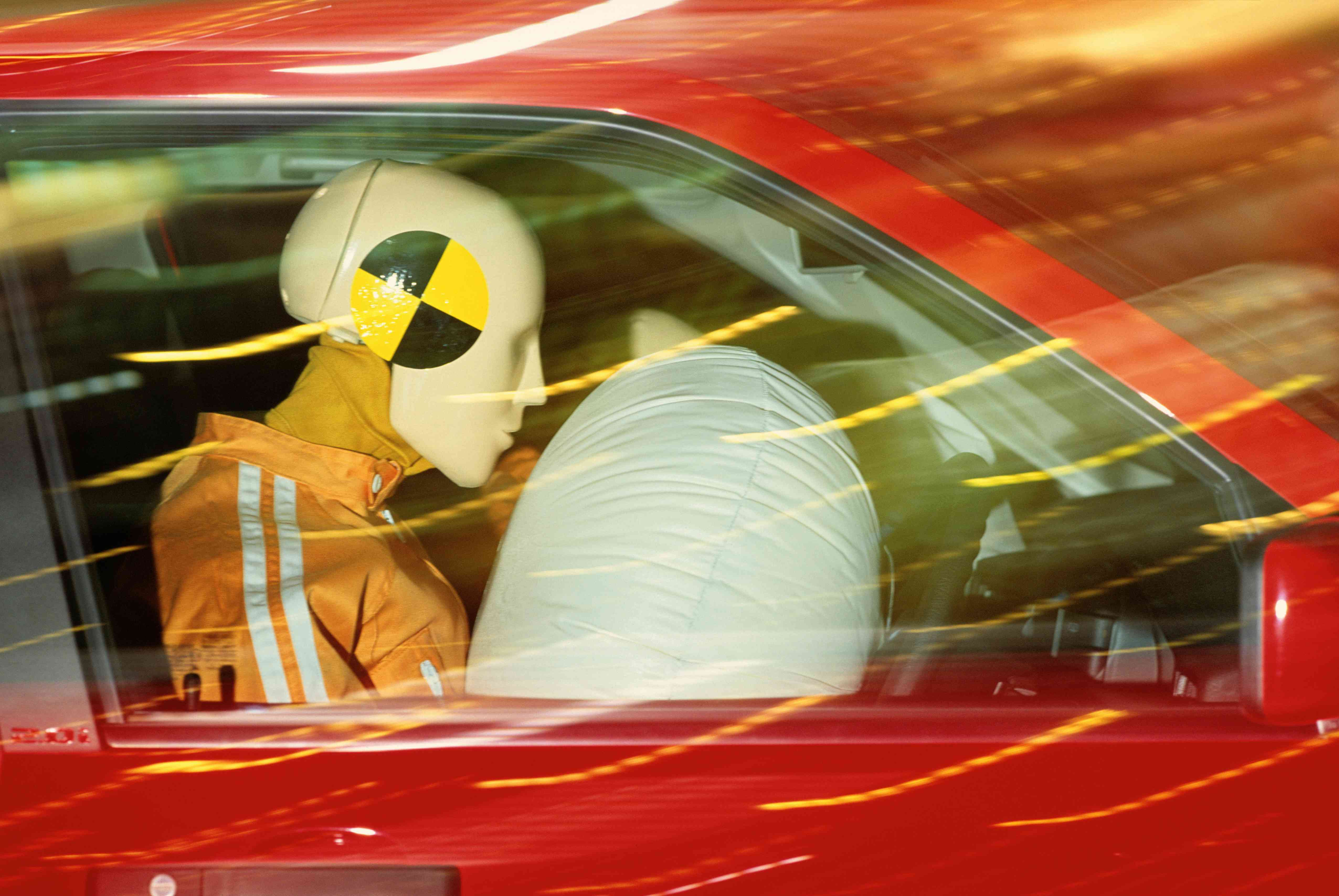 Air bag safety demonstration with test dummy