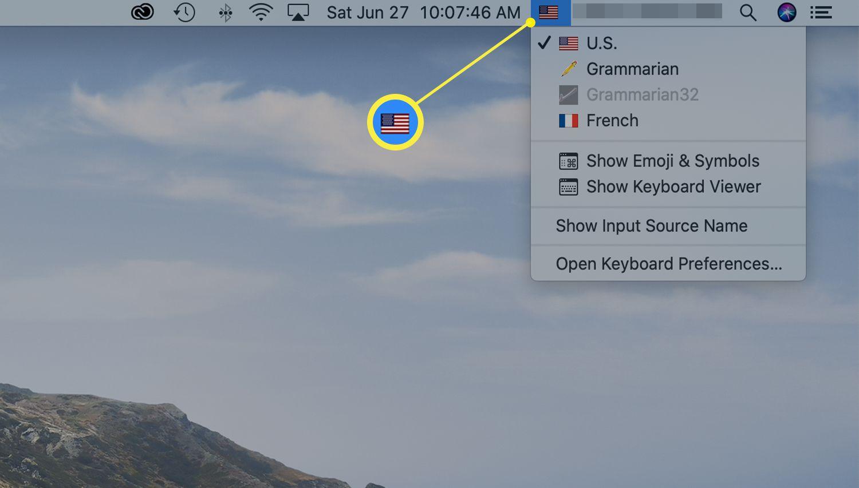 Input menu in menu bar of Mac