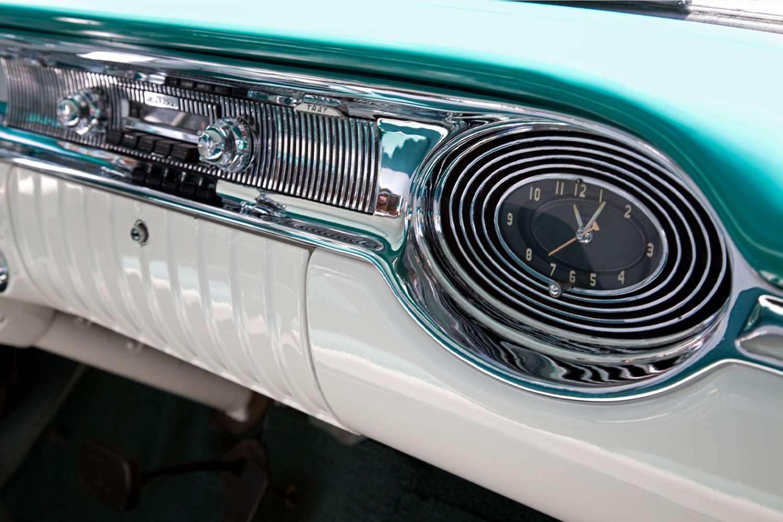 Classic car dash showing radio