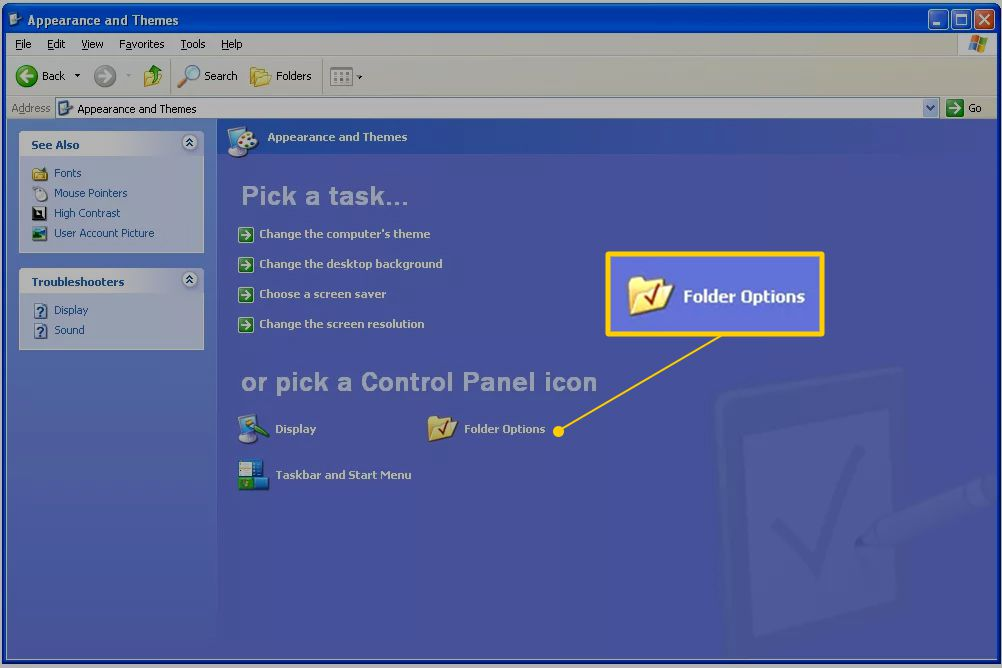 Folder options link in Windows XP Appearance and Themes