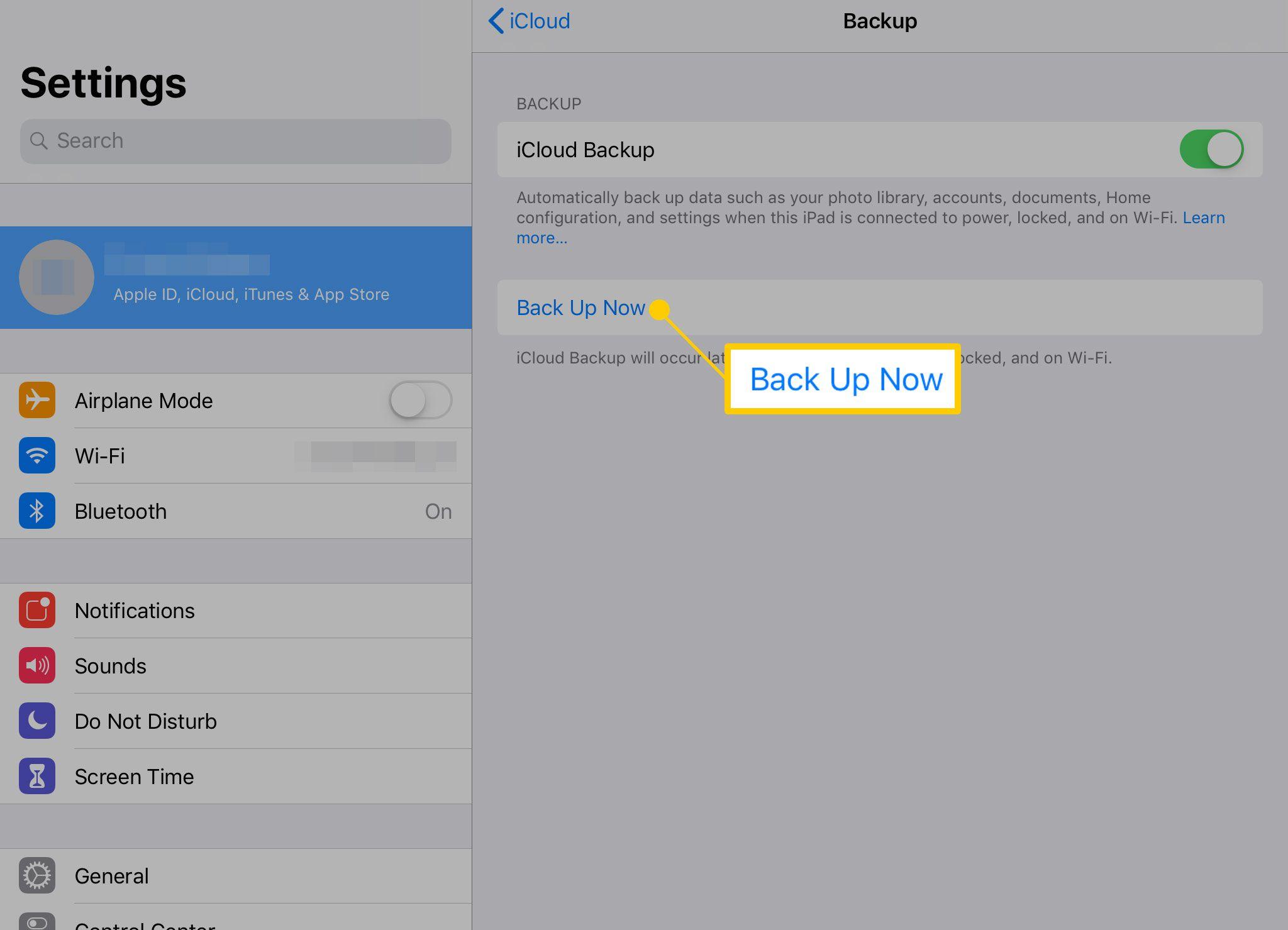 Manual backup on iPad