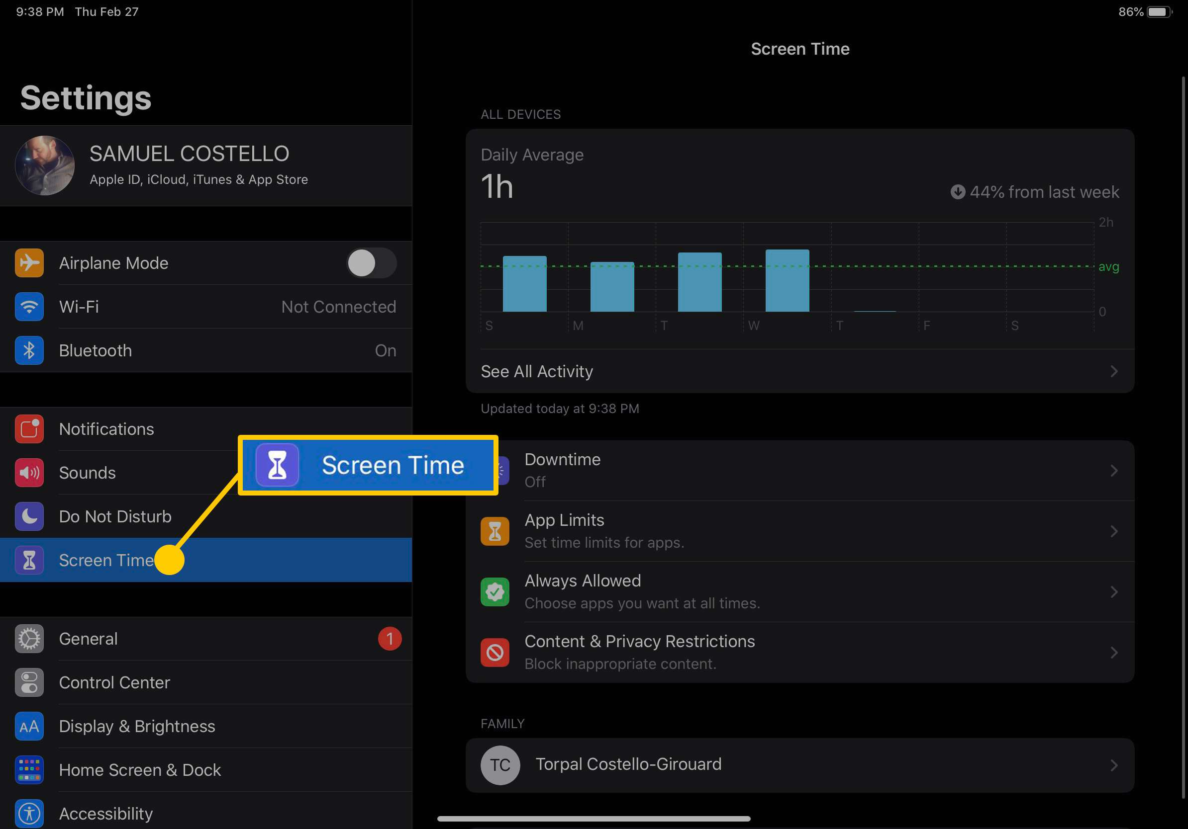 Screenshot of iPad Screen Time settings.