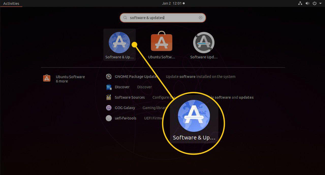 Software & Updates in Ubuntu