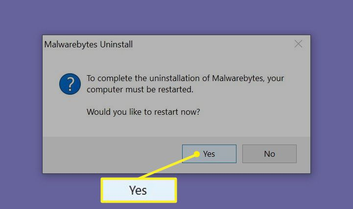 Prompt to restart computer to complete Malwarebyte uninstall