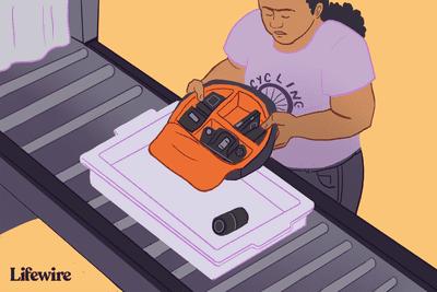 Person emptying camera bag onto TSA security belt