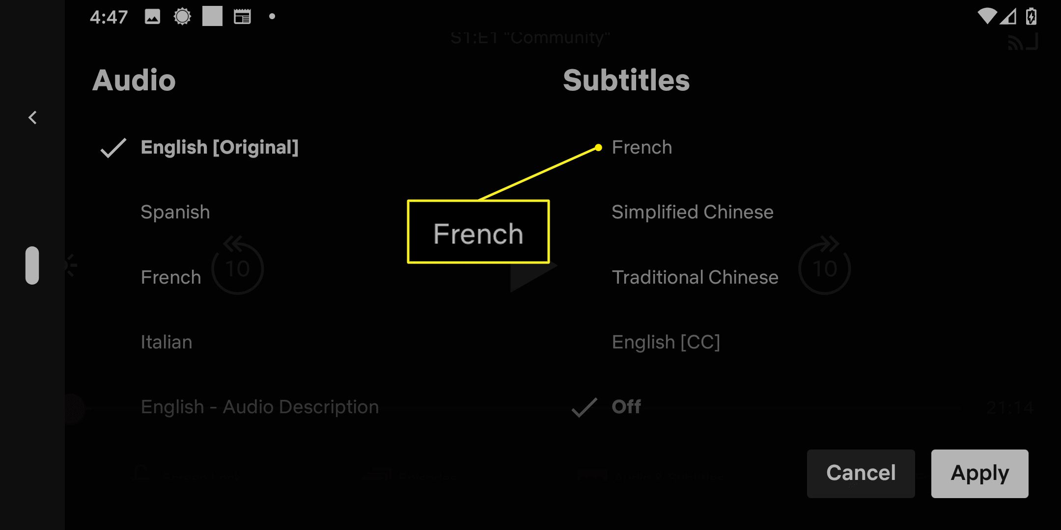 Subtitle options in the Netflix app with French highlighted.