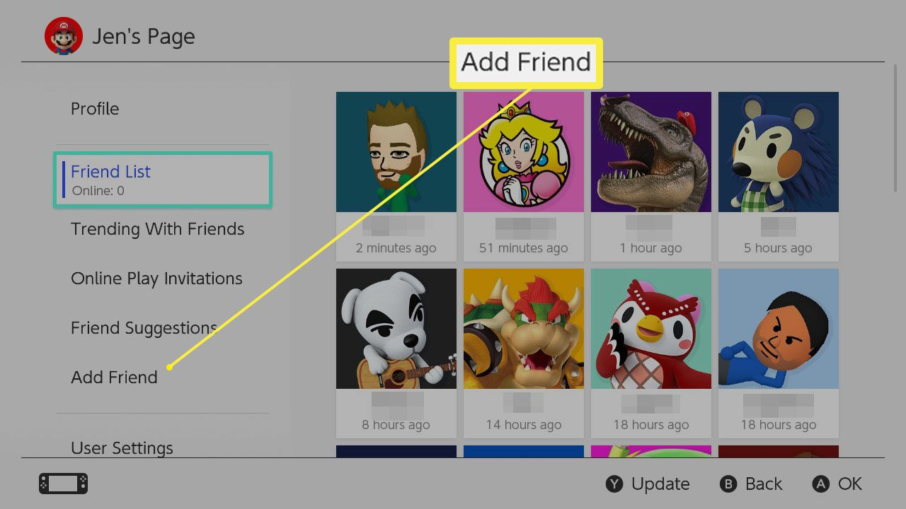 Add Friend highlighted on Nintendo Switch user profile