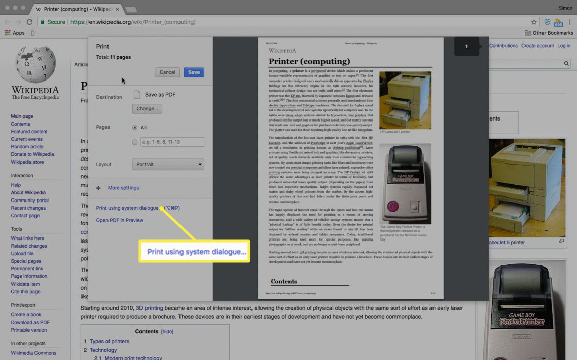The Print using system dialogue option on a Mac