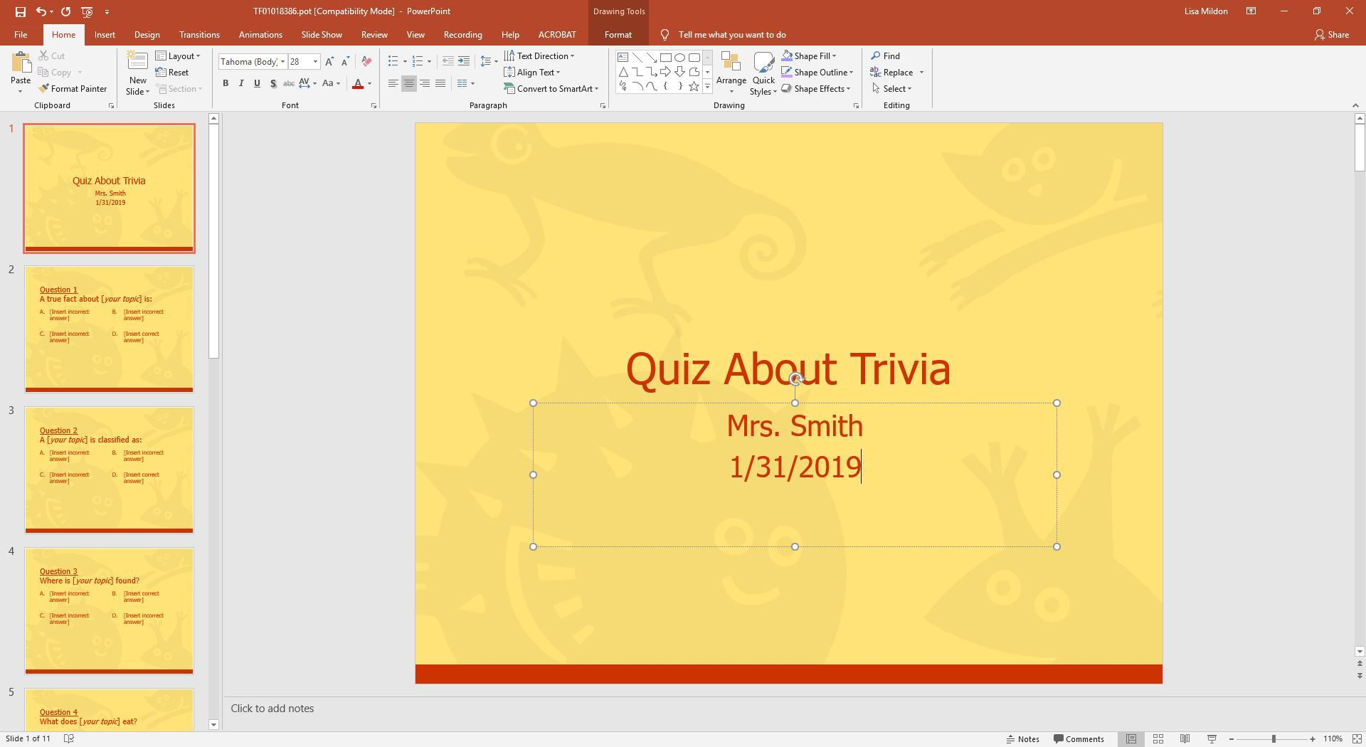 Powerpoint Template For A Multiple Choice Quiz