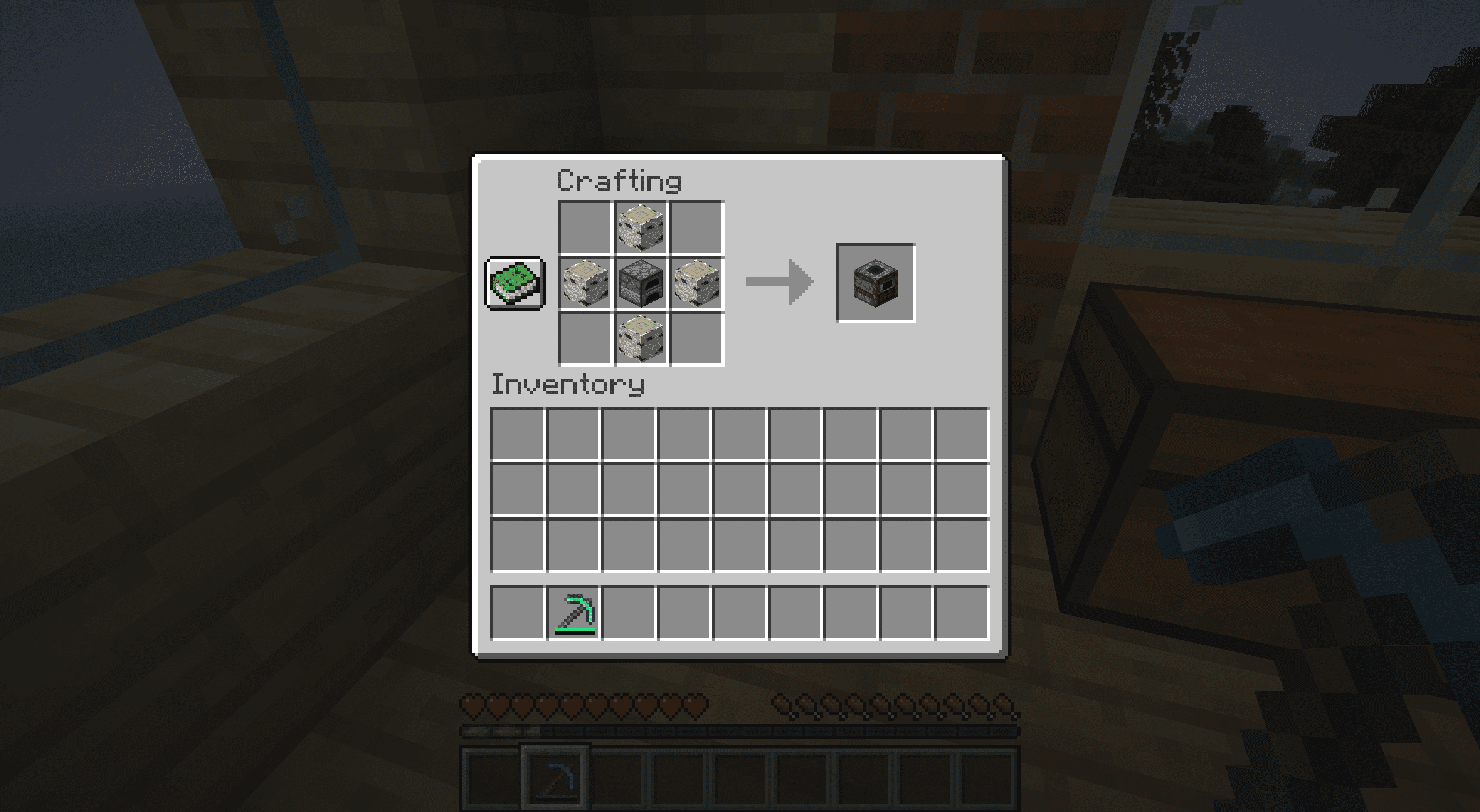 The smoker crafting recipe in Minecraft.