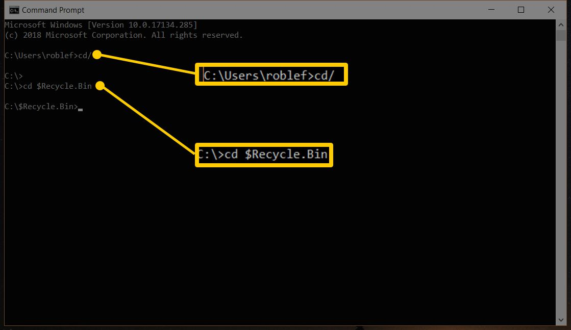 Command prompt screenshot highlighting cd/ and cd $Recycle.Bin commands