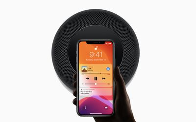 Apple HomePod being controlled with an iPhone
