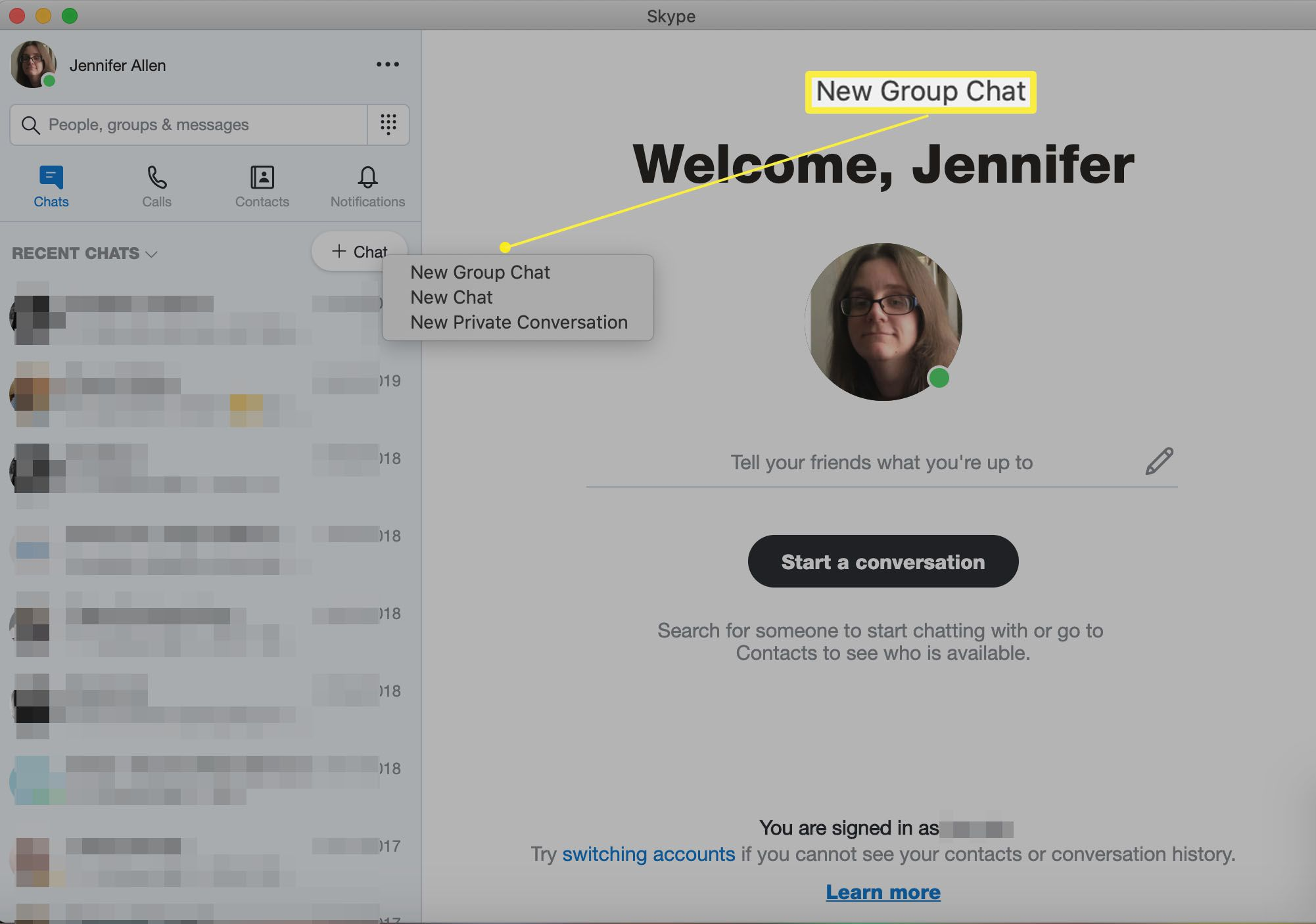 Skype with New Group Chat highlighted