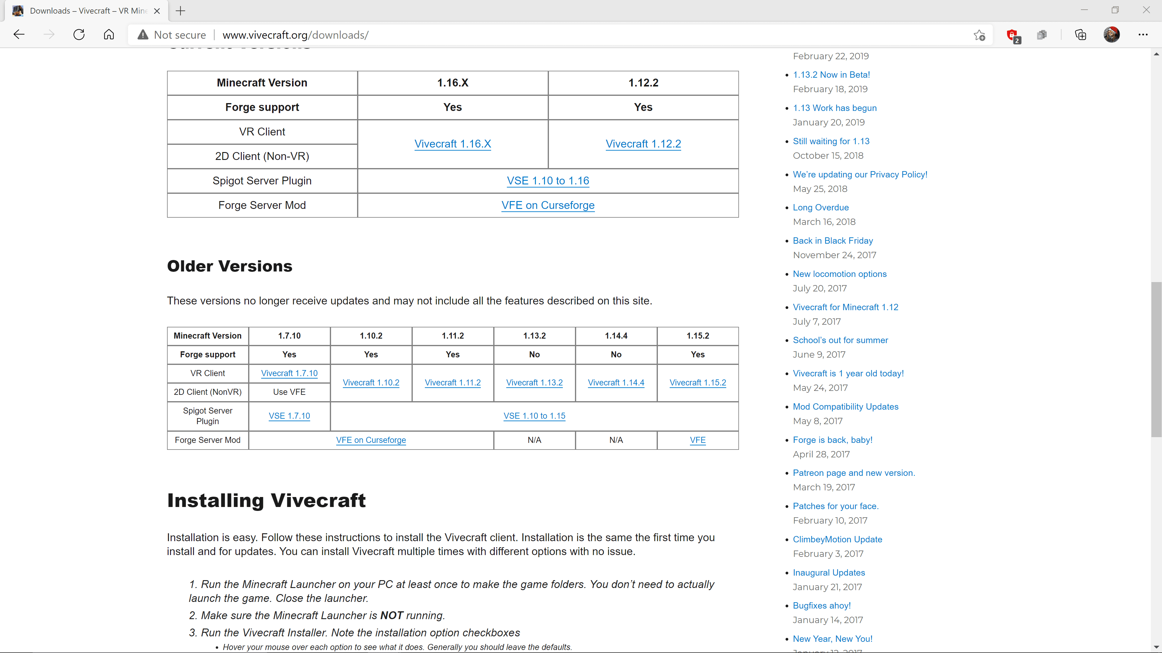 The Vivecraft website with Vivecraft 1.16.x highlighted.