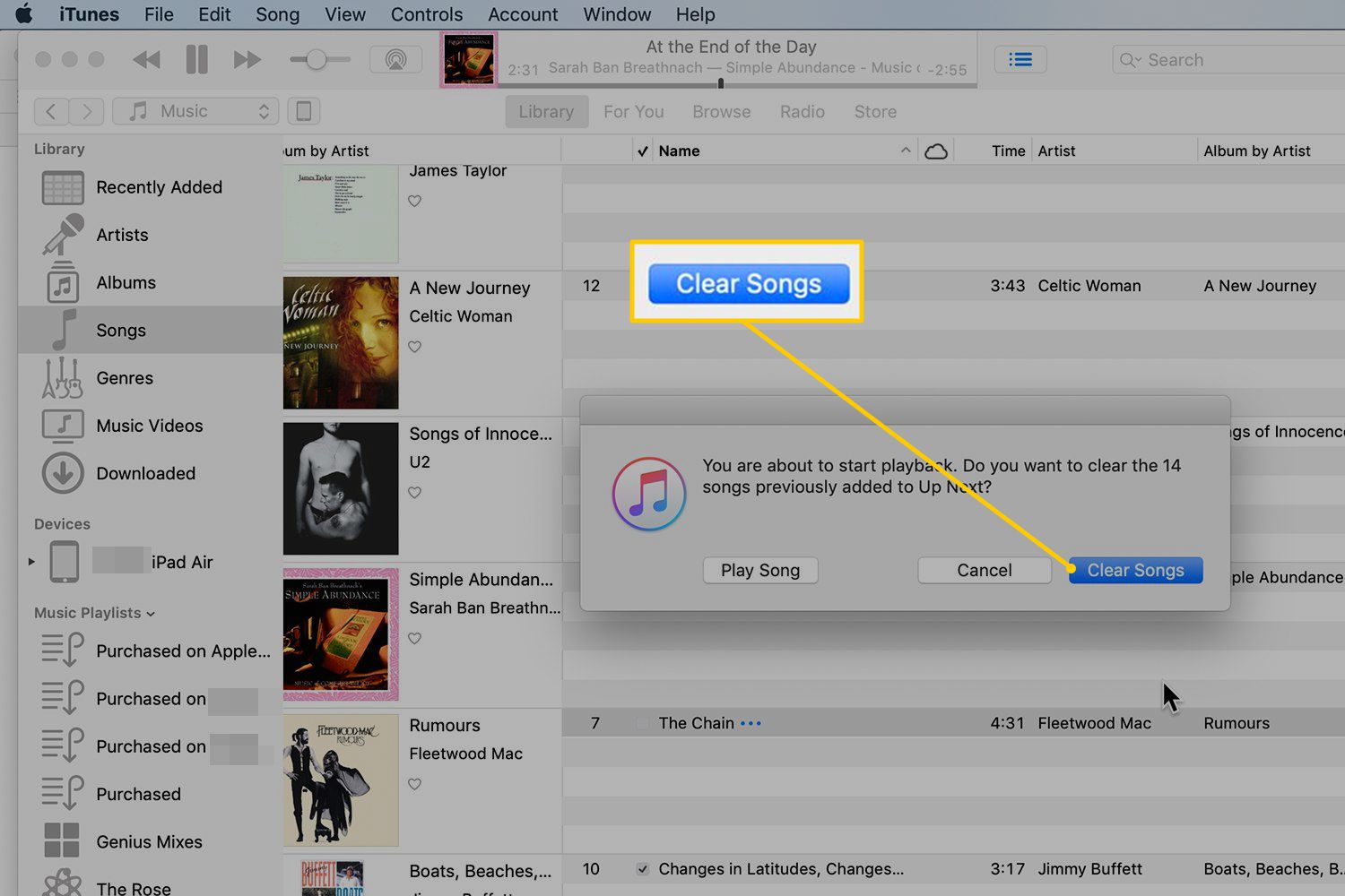 Clear Songs button in iTunes dialog