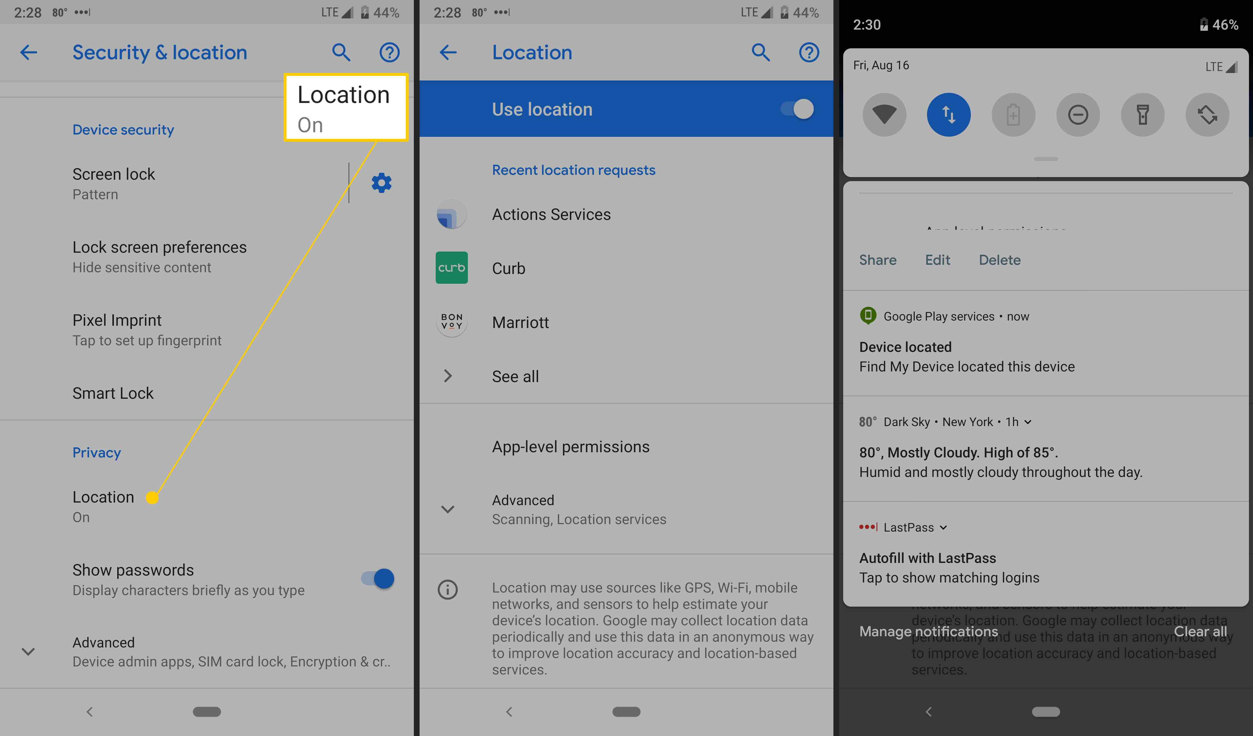 Android's location settings.