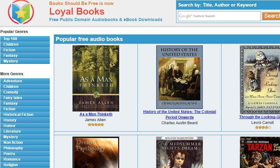 Loyal Books popular free audiobooks