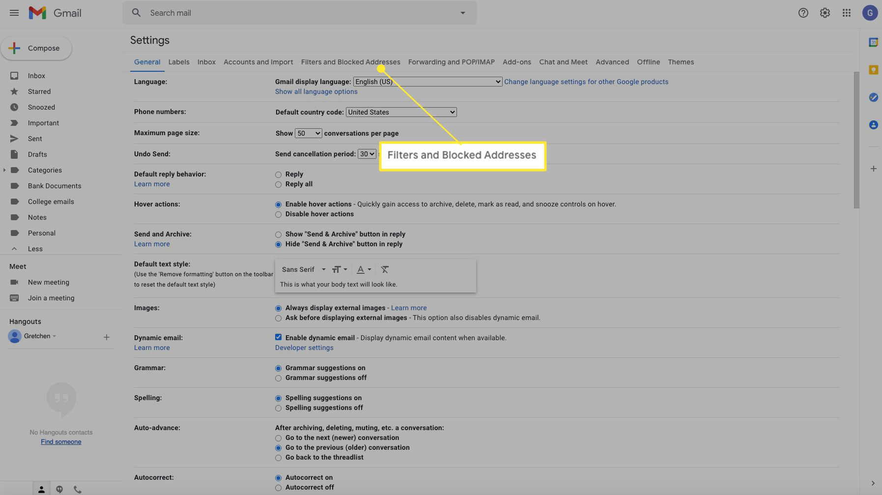 Gmail settings with