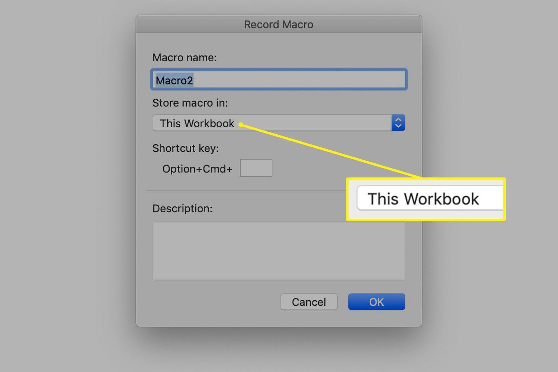 This Workbook drop-down menu in Mac Excel