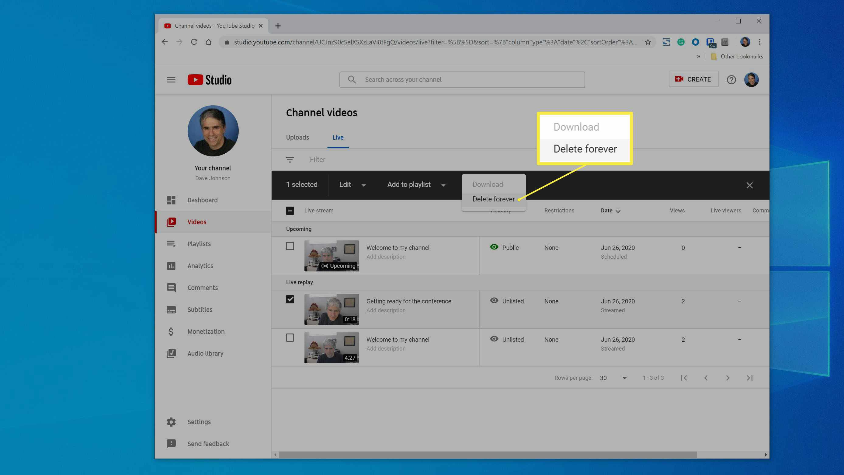 Using YouTube Studio to delete a Live Stream video.