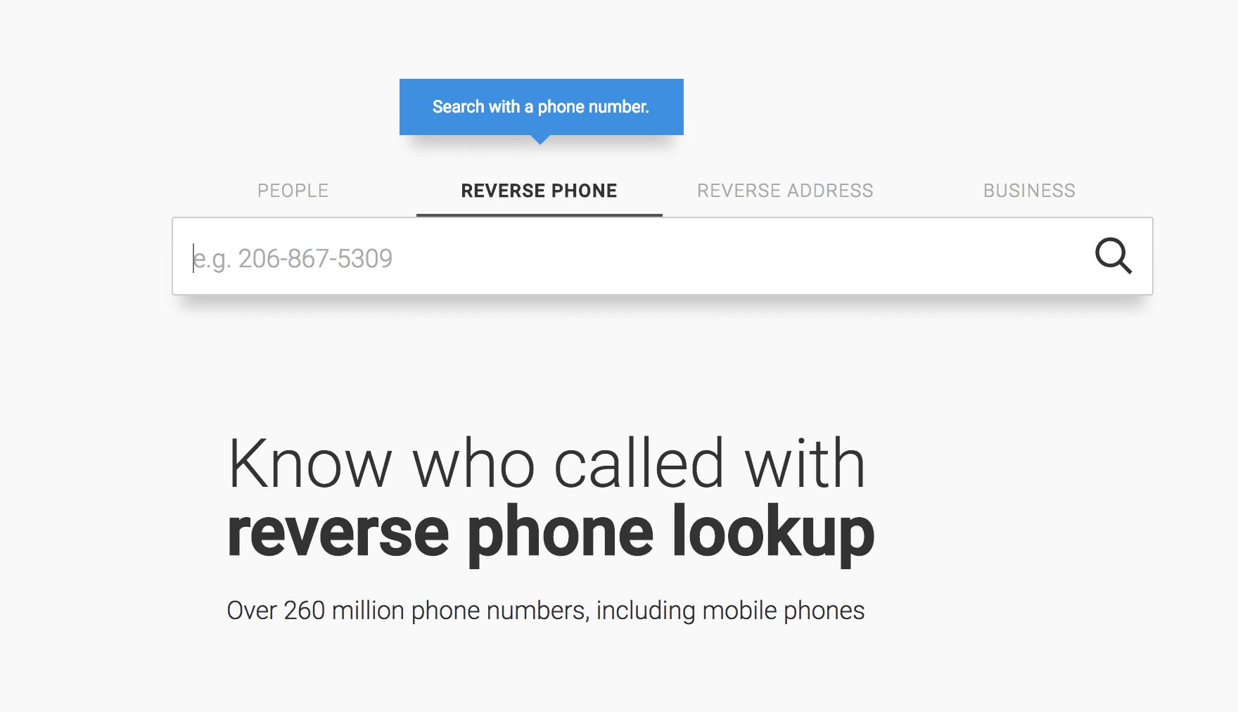 screenshot of reverse phone lookup screen