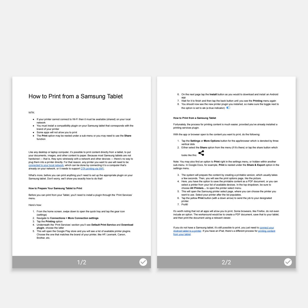 Samsung print preparation and options screen