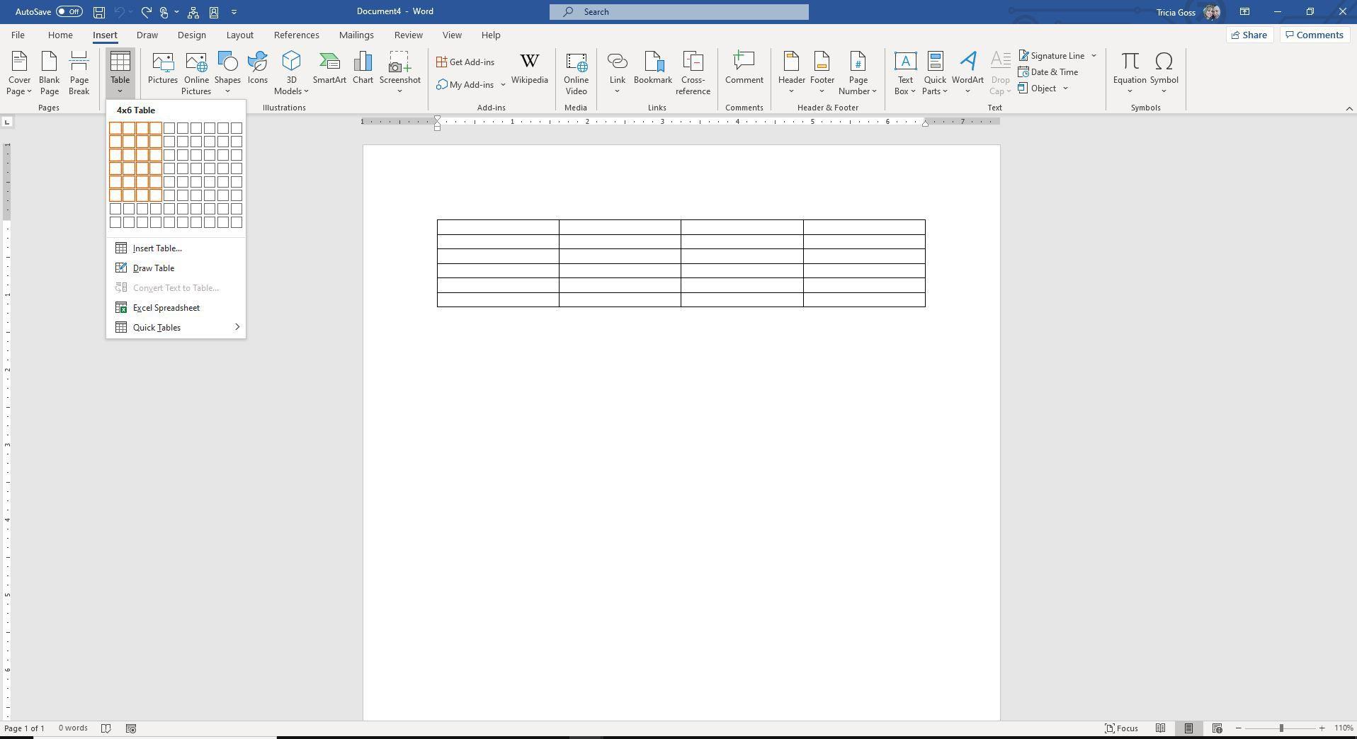 Screenshot of Insert Table