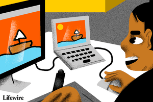Illustration of a person using an iMac as a second screen for their laptop