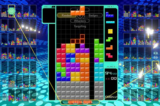 Tetris 99 video game on the Nintendo Switch.