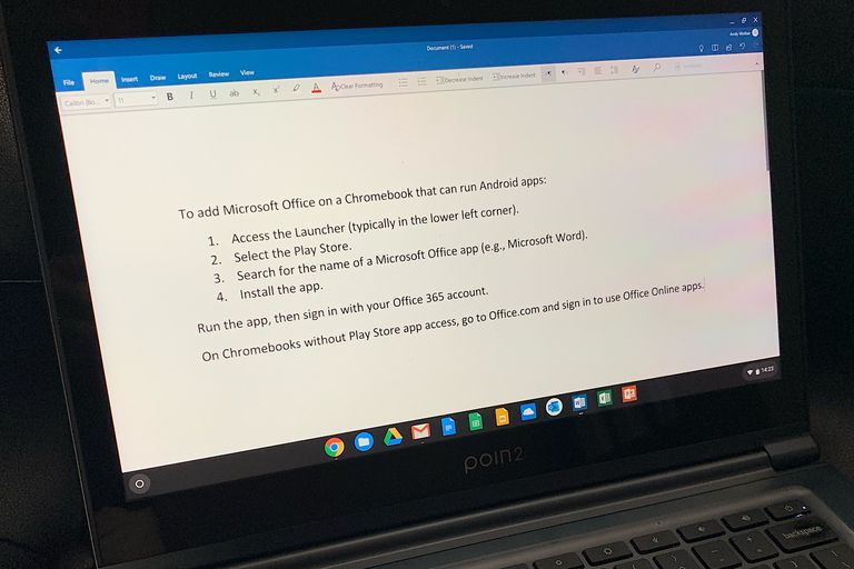 Microsoft Word Android app running on a Chromebook, with Word, Excel, PowerPoint icons pinned to the shelf (at bottom of screen)