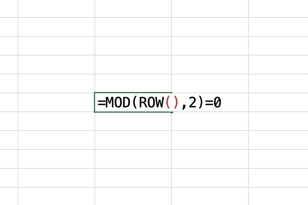 Excel showing the MOD formula