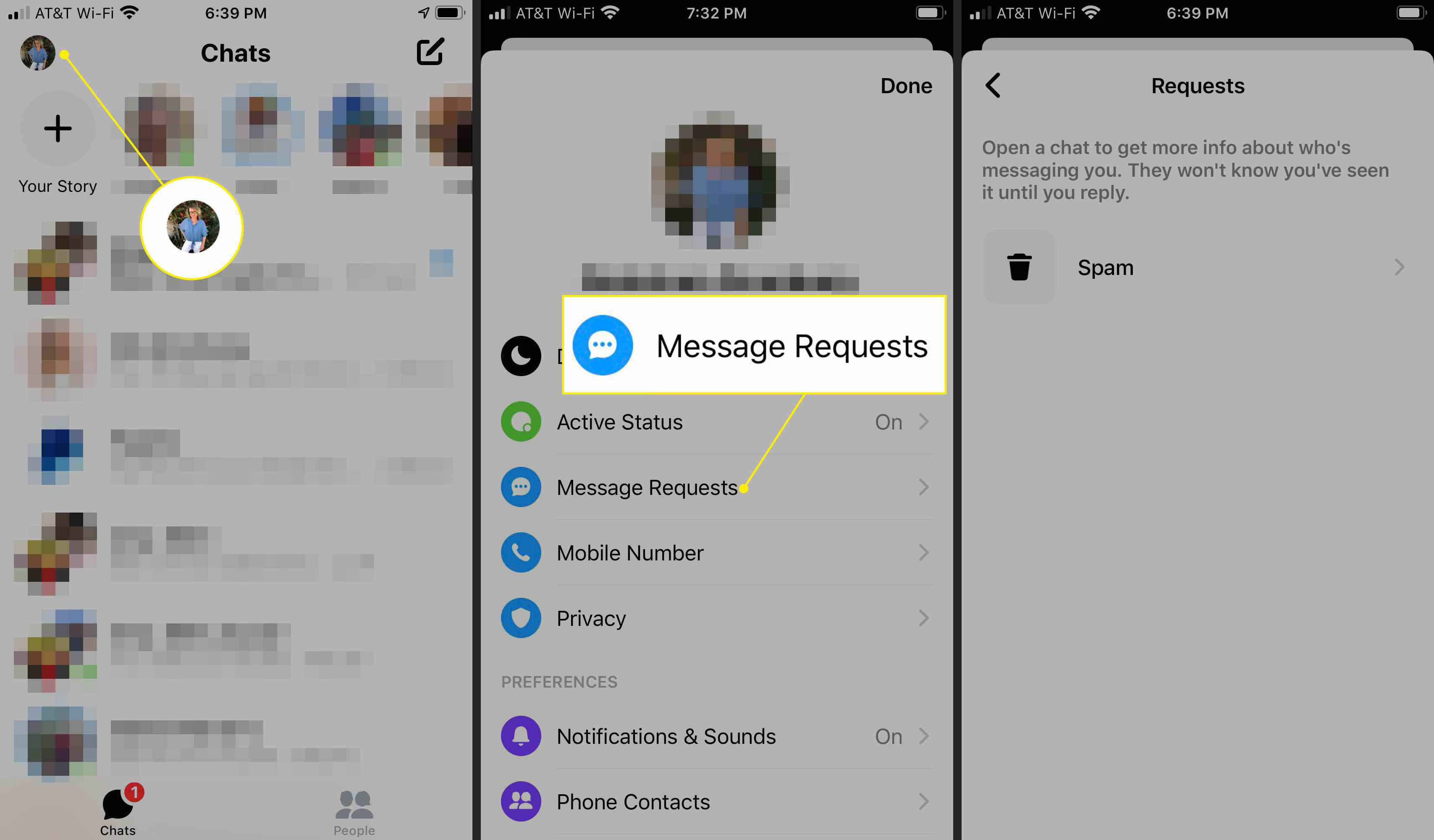 Finding message requests in the Messenger app