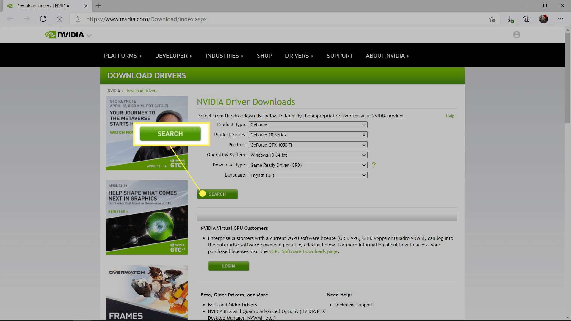 SEARCH highlighted on the Nvidia driver download site.