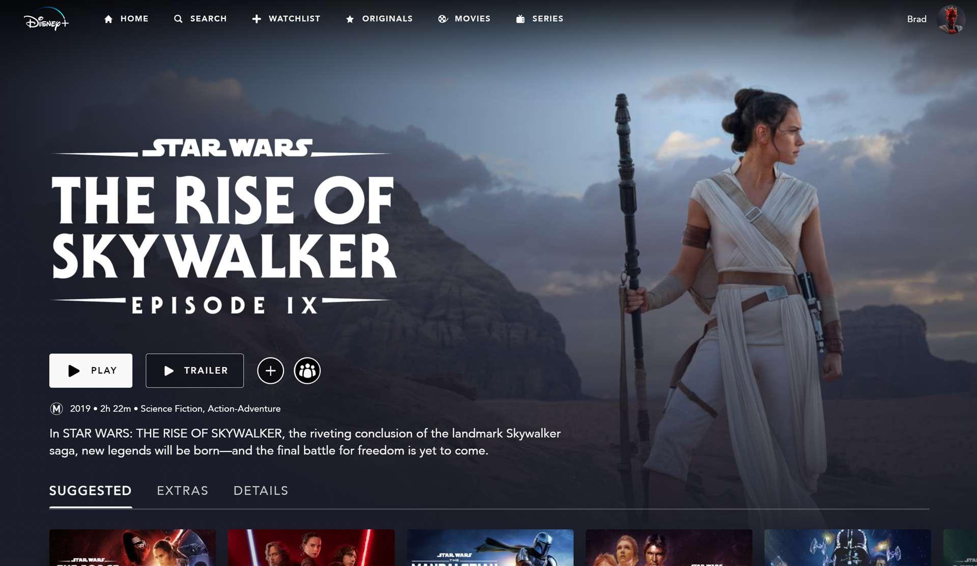 Daisy Ridley as Rey in Star Wars Episode IX The Rise of Skywalker on Disney+.
