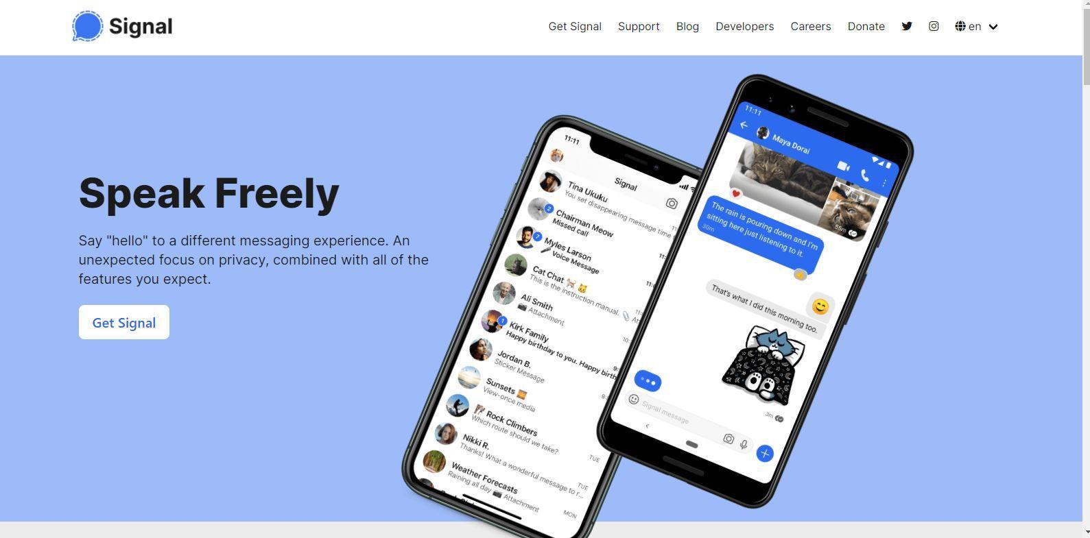 Signal Private Messenger website