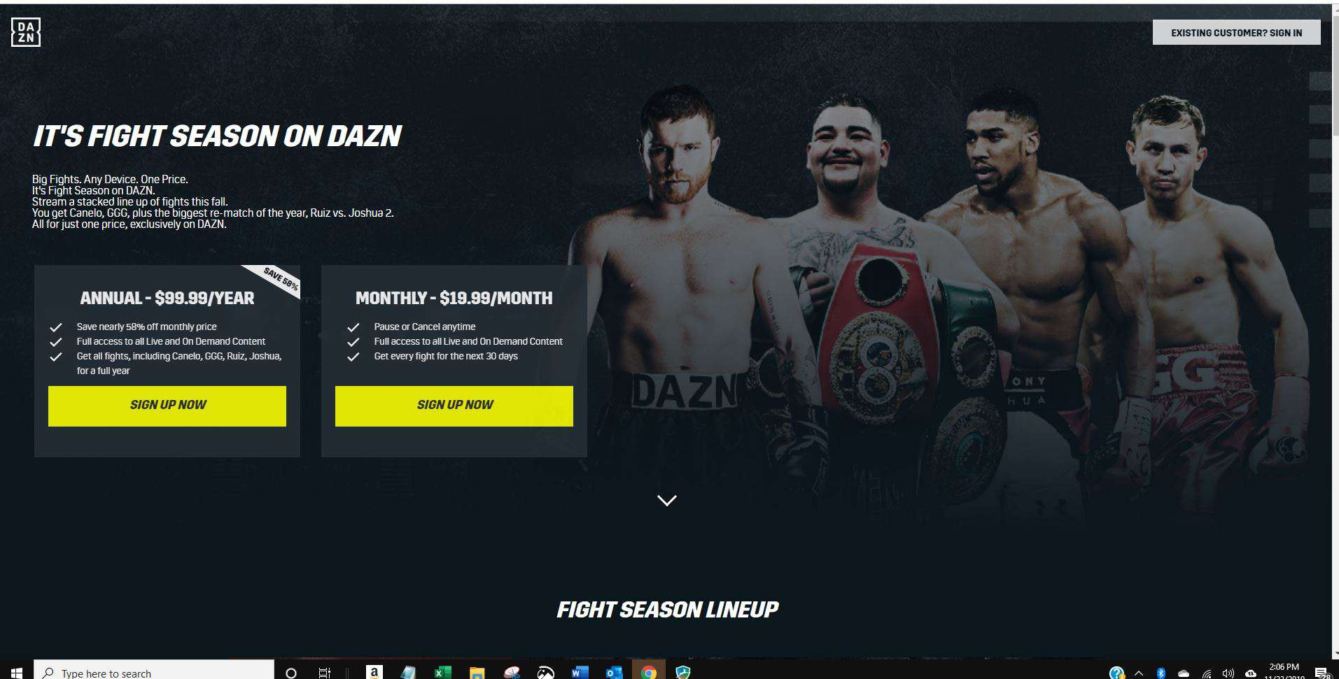 Screenshot of Sign Up Now button on DAZN website