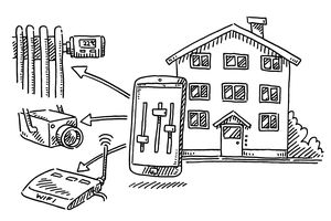 An illustration of controlling smart home products from a mobile device.