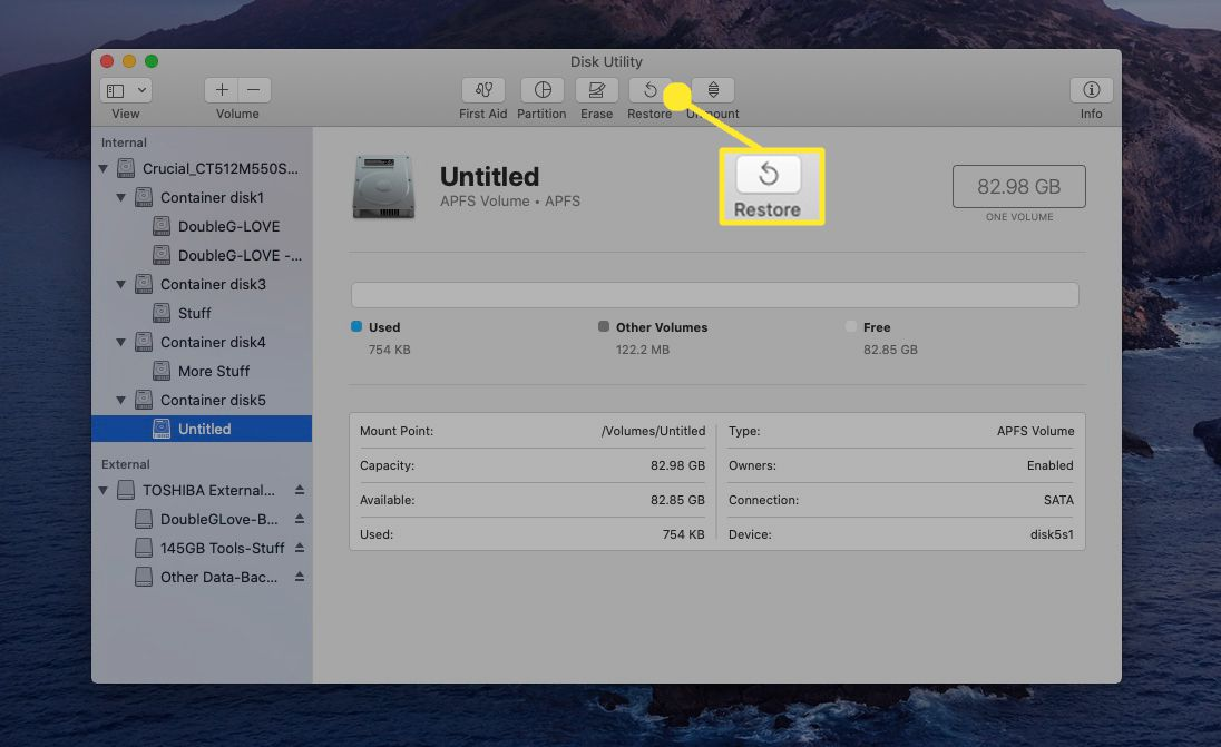 Select the untitled volume you just created, and then select Restore.